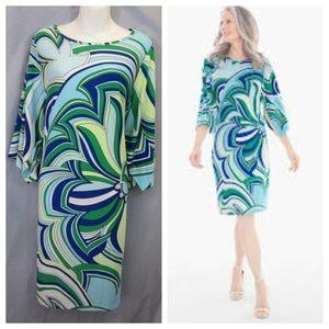 Chico's Geometric Floral Shift Dress Blue Sz 2 L
